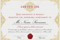 Certificate Template Design With Emblem Flourish Border On White within Certificate Template Size