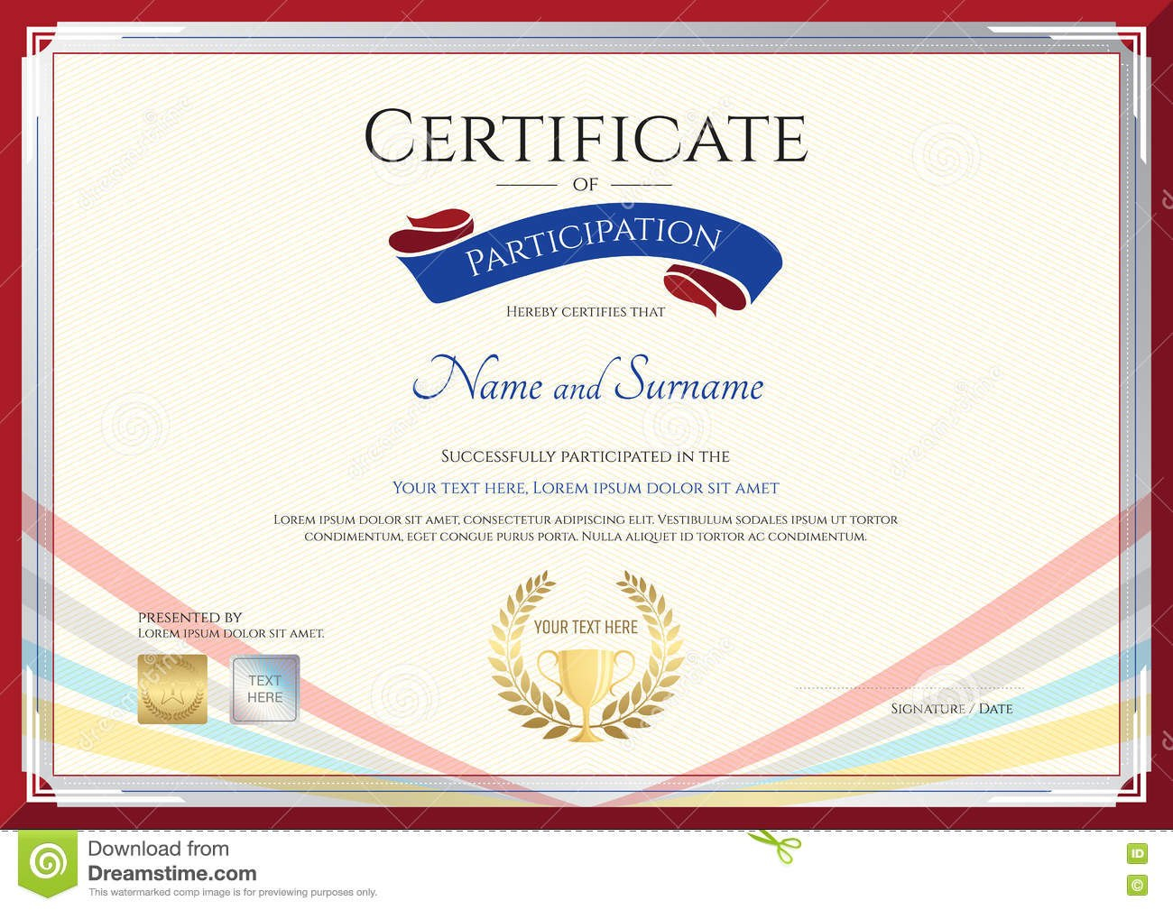 Certificate Template For Achievement Appreciation Or Participation For Conference Participation Certificate Template