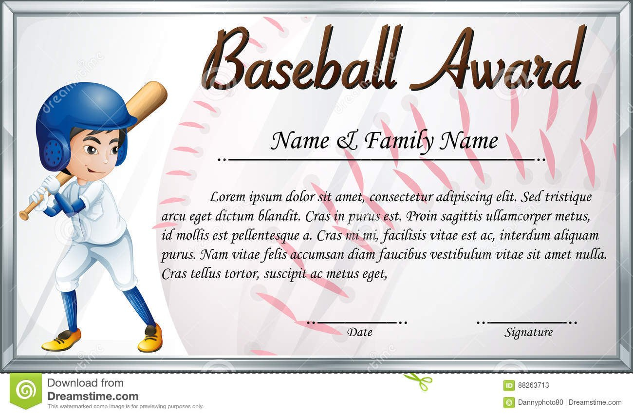 Certificate Template For Baseball Award With Baseball Player Inside Softball Award Certificate Template