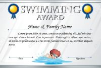 Certificate Template For Swimming Award Illustration Royalty Free throughout Swimming Award Certificate Template