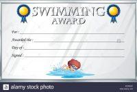 Certificate Template For Swimming Award Illustration Stock Vector inside Swimming Award Certificate Template