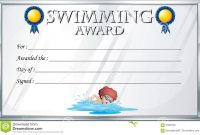 Certificate Template For Swimming Award Stock Vector  Illustration in Swimming Award Certificate Template