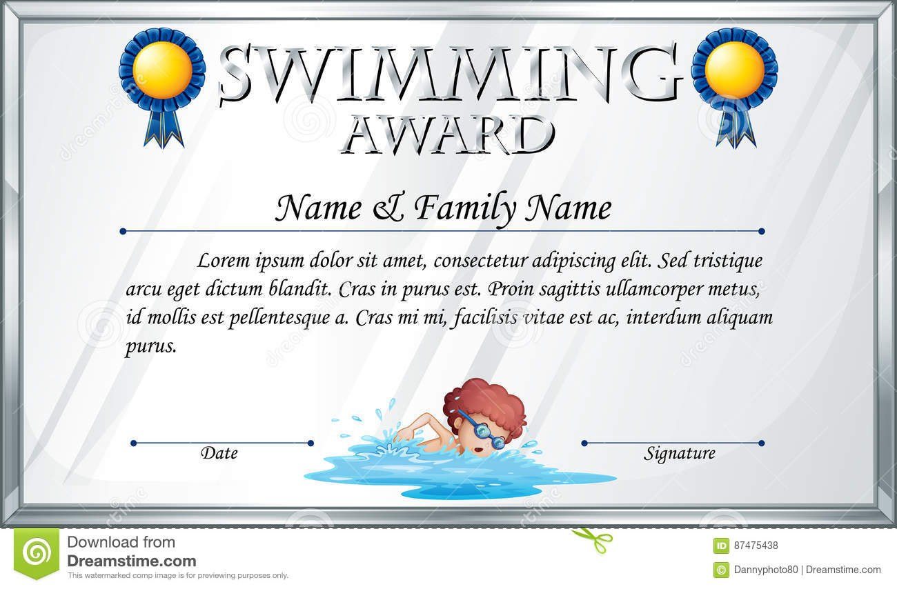 Certificate Template For Swimming Award Stock Vector  Illustration With Free Swimming Certificate Templates