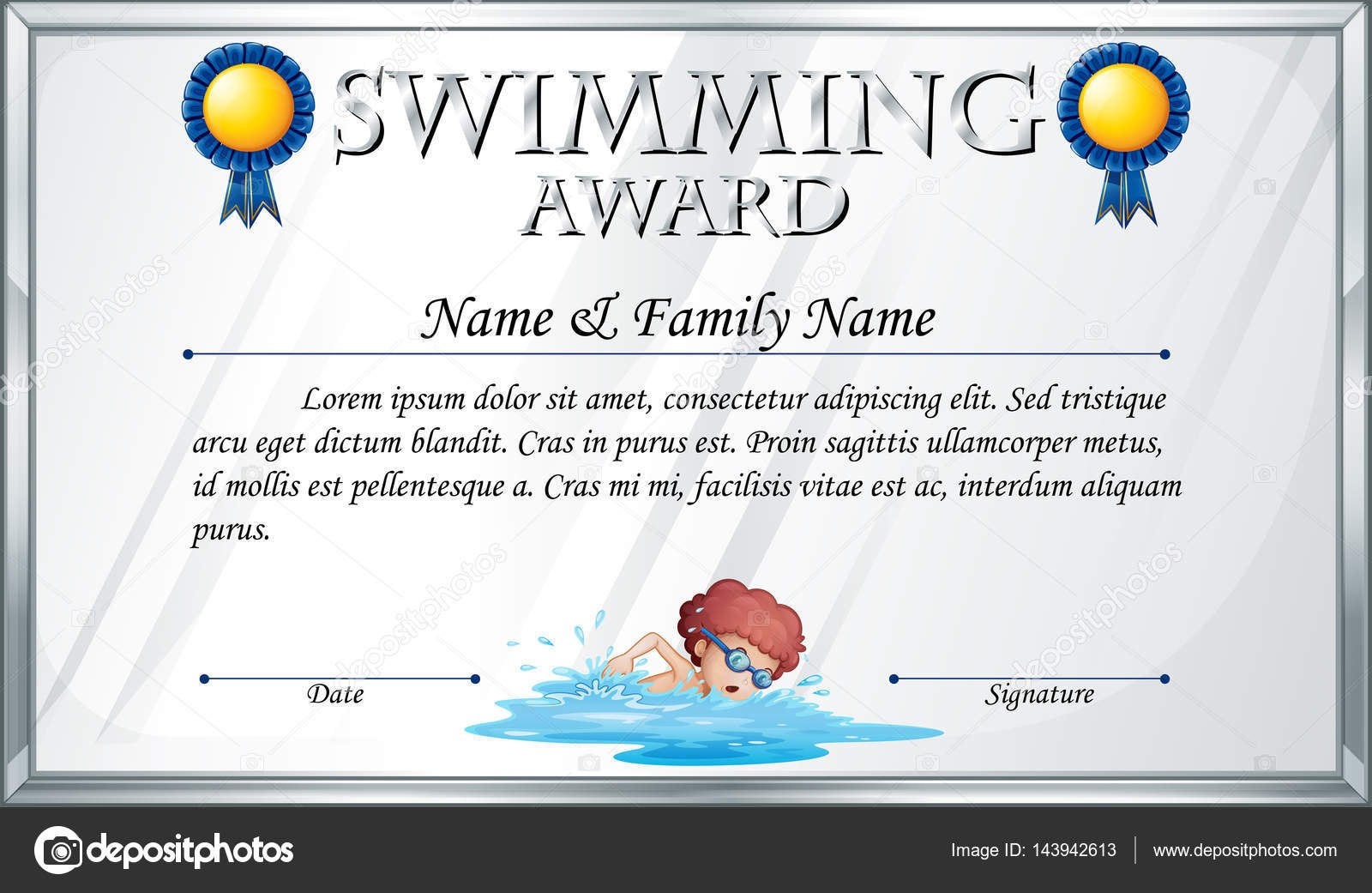 Certificate Template For Swimming Award — Stock Vector Throughout Swimming Award Certificate Template