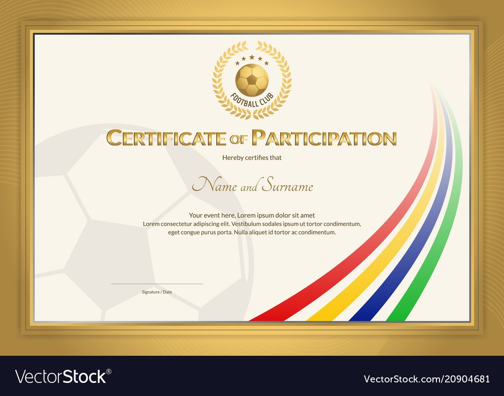 Certificate Template In Football Sport Color Vector Image Pertaining To Football Certificate Template