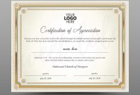 Certificate Template Instant Download Certificate Of Appreciation   Editable Ms Word Doc And Photoshop File Included in Walking Certificate Templates