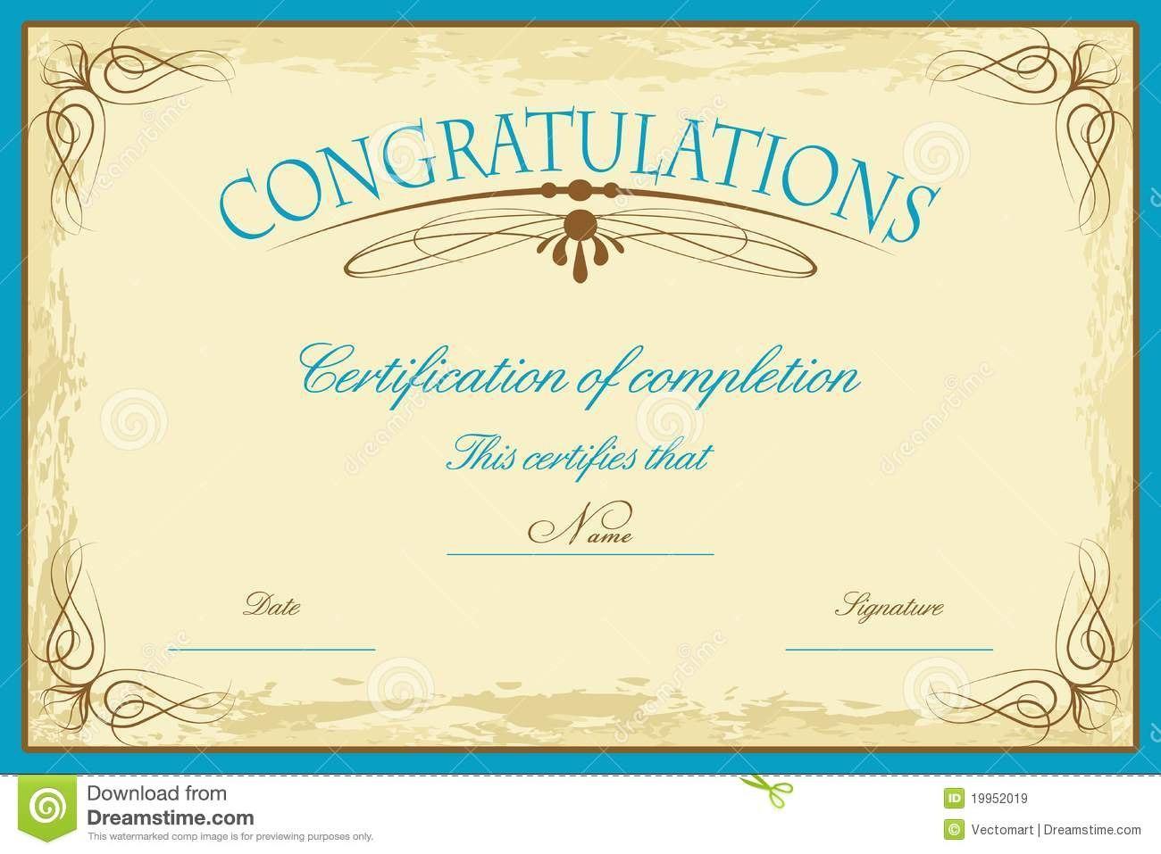 Certificate Template Stock Vector Illustration Of Education Within Promotion Certificate Template