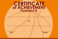 Certificate Template With Basketball Background Vector Image intended for Basketball Certificate Template