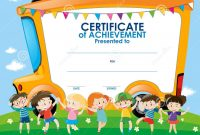 Certificate Template With Children And School Bus Stock Illustration pertaining to Certificate Templates For School