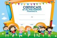 Certificate Template With Children And School Bus Vector Image for Free School Certificate Templates