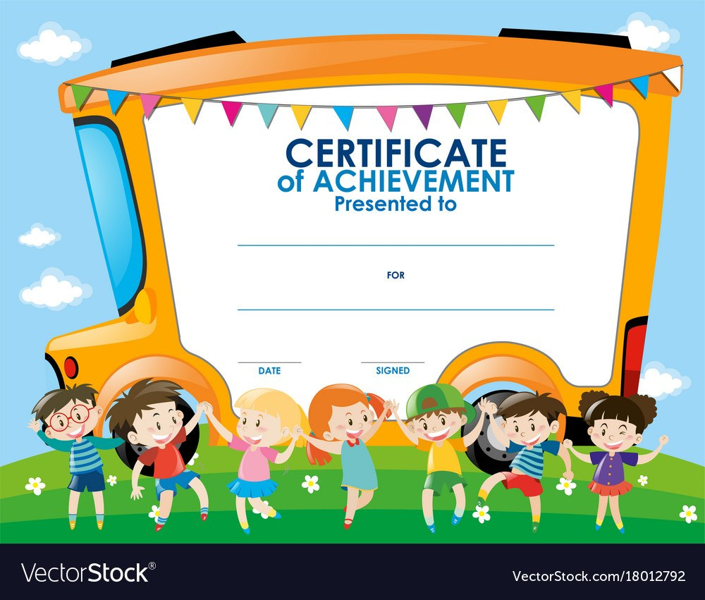 Certificate Template With Children And School Bus Vector Image Inside Certificate Of Achievement Template For Kids