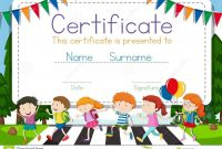 Certificate Template With Children Crossing Road Background Stock inside Crossing The Line Certificate Template