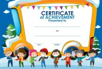 Certificate Template With Children In Winter Vector Image in Certificate Of Achievement Template For Kids