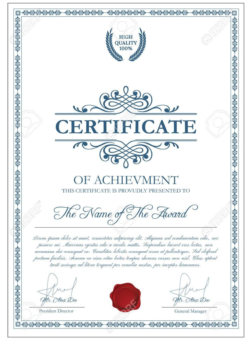 Certificate Template With Guilloche Elements Blue Diploma Border Regarding Validation Certificate Template