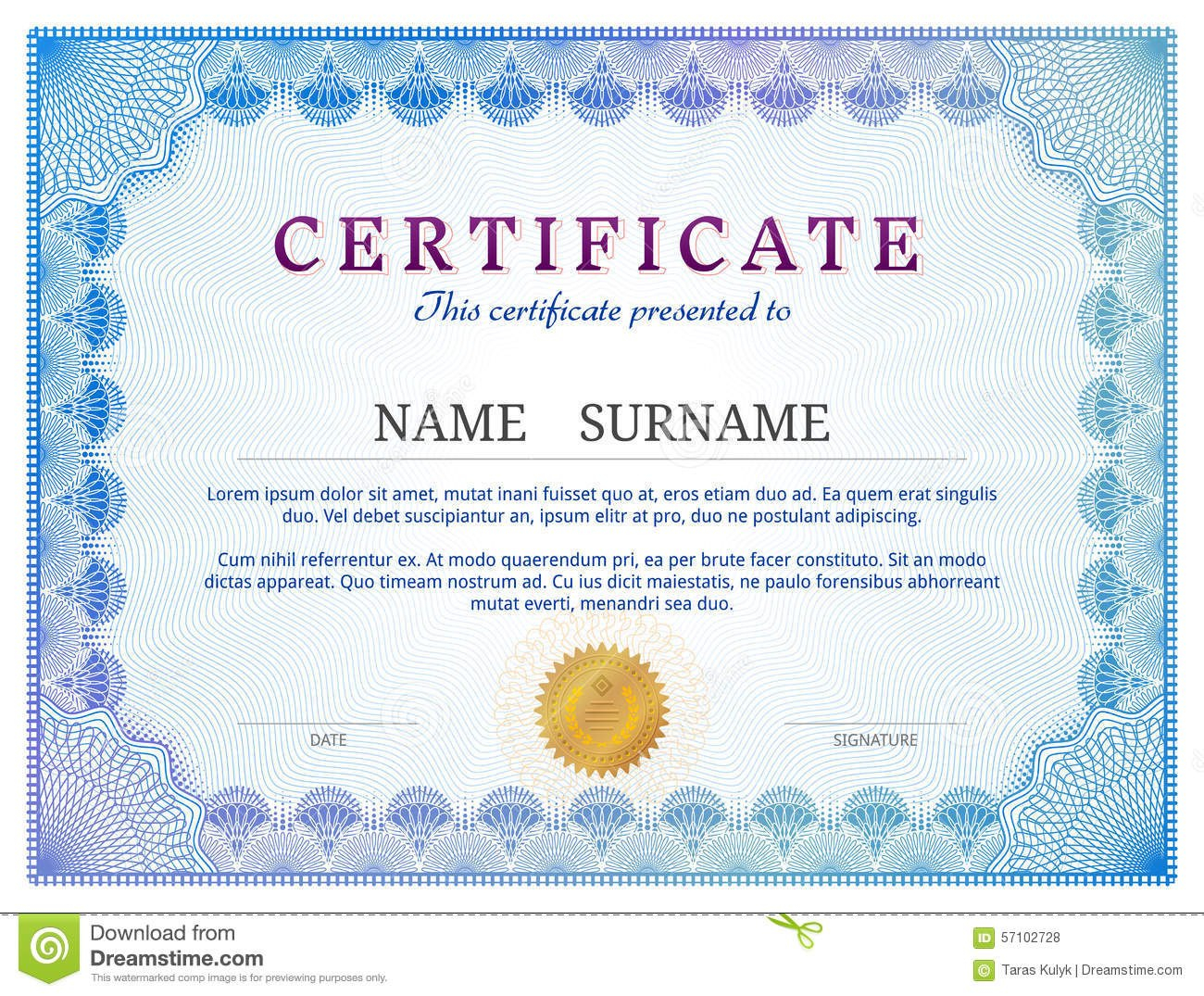 Certificate Template With Guilloche Elements Stock Vector Throughout Validation Certificate Template
