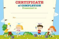 Certificate Template With Happy Children Vector Image for Free Kids Certificate Templates