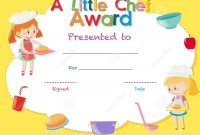 Certificate Template With Kids Cooking Stock Illustration throughout Children's Certificate Template