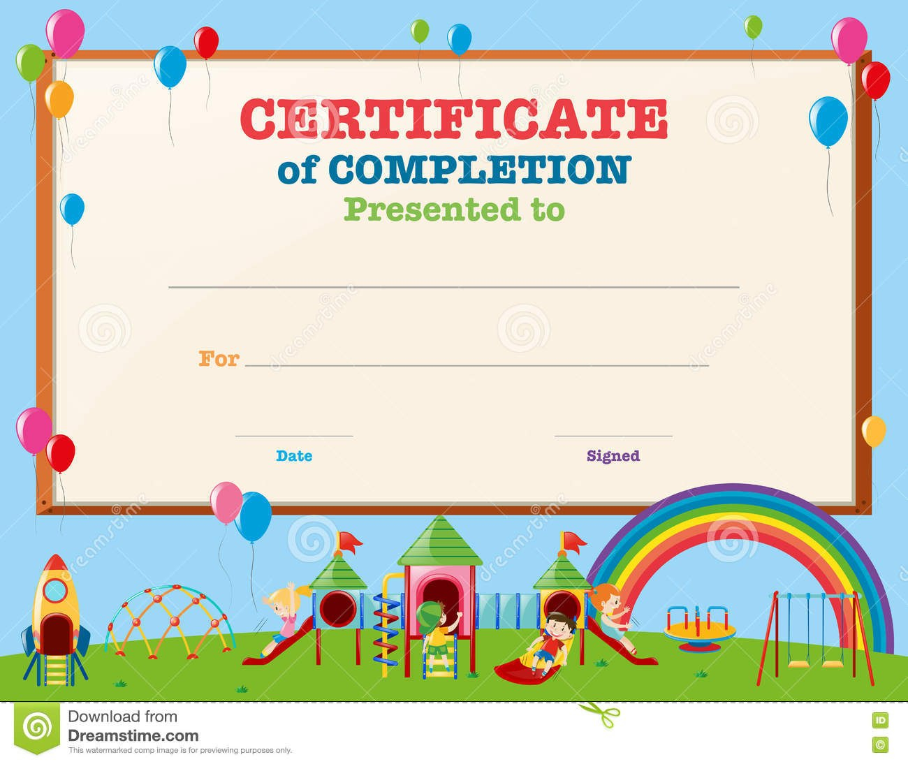Certificate Template With Kids In Playground Stock Vector Inside Certificate Of Achievement Template For Kids