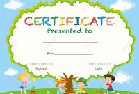 Certificate Template With Kids Planting Trees Illustration Royalty in Free Kids Certificate Templates