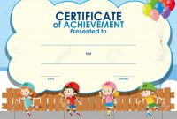 Certificate Template With Kids Skating Illustration Royalty Free in Free Kids Certificate Templates