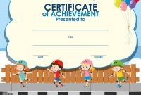 Certificate Template With Kids Skating Royalty Free Vector intended for Children's Certificate Template