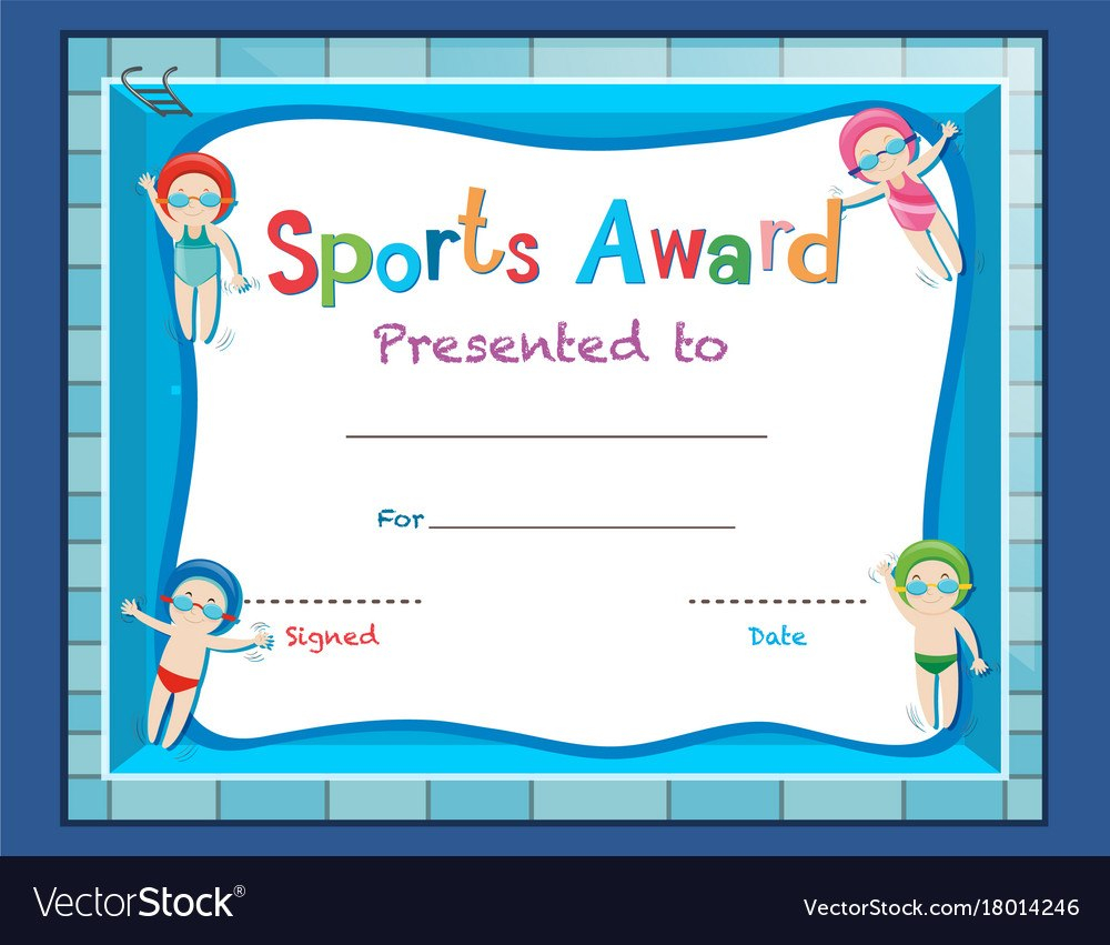 Certificate Template With Kids Swimming Royalty Free Vector Inside Free Swimming Certificate Templates