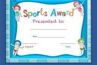 Certificate Template With Kids Swimming Royalty Free Vector within Swimming Award Certificate Template