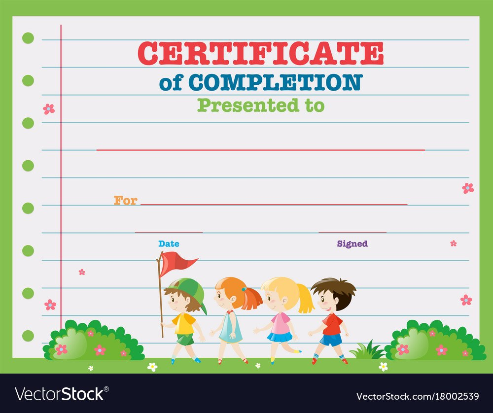 Certificate Template With Kids Walking In The Park Within Walking Certificate Templates