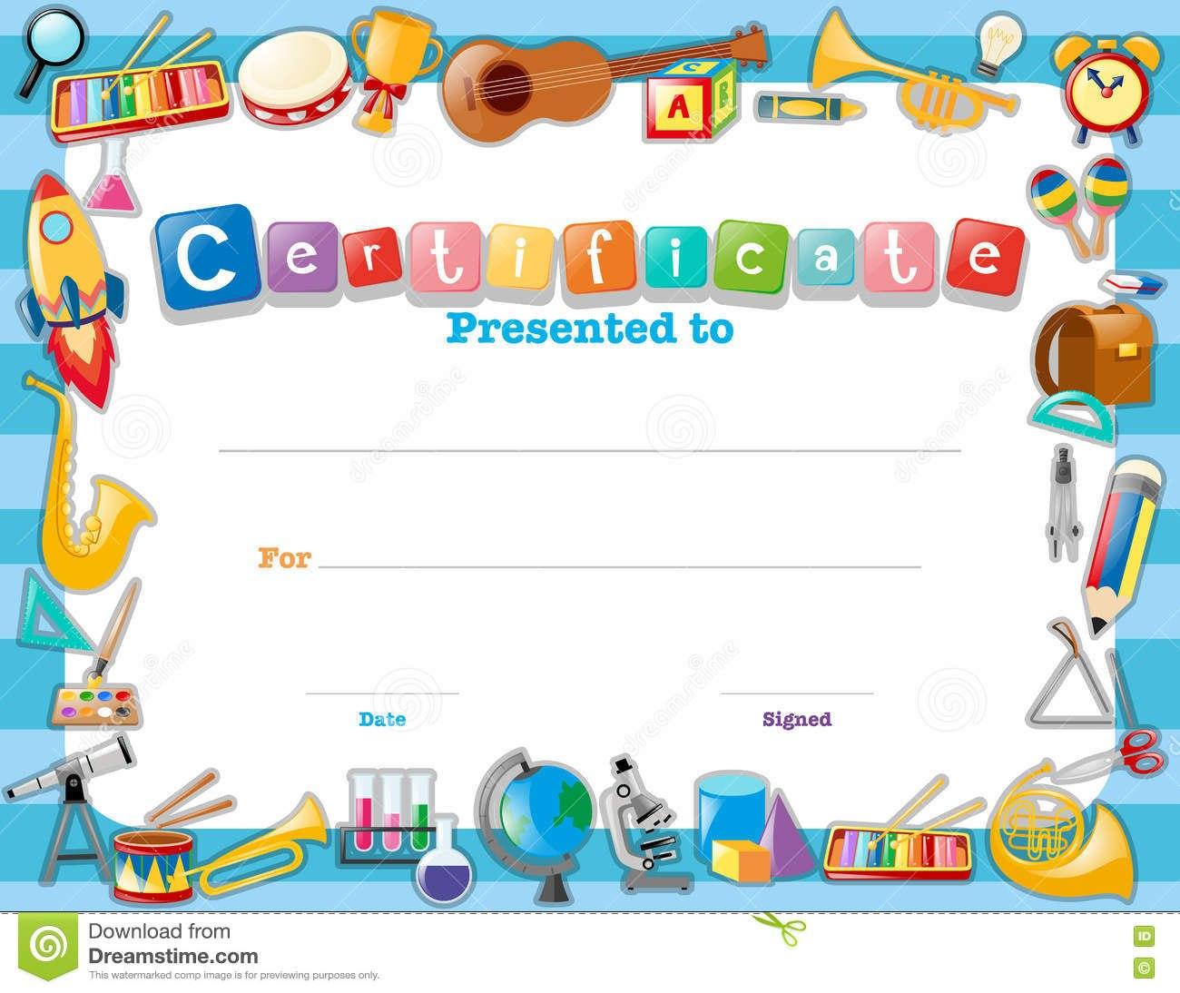 Certificate Template With School Items Stock Illustration Regarding Certificate Templates For School