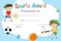 Certificate Template With Two Boys Playing Sports Vector Image in Athletic Certificate Template