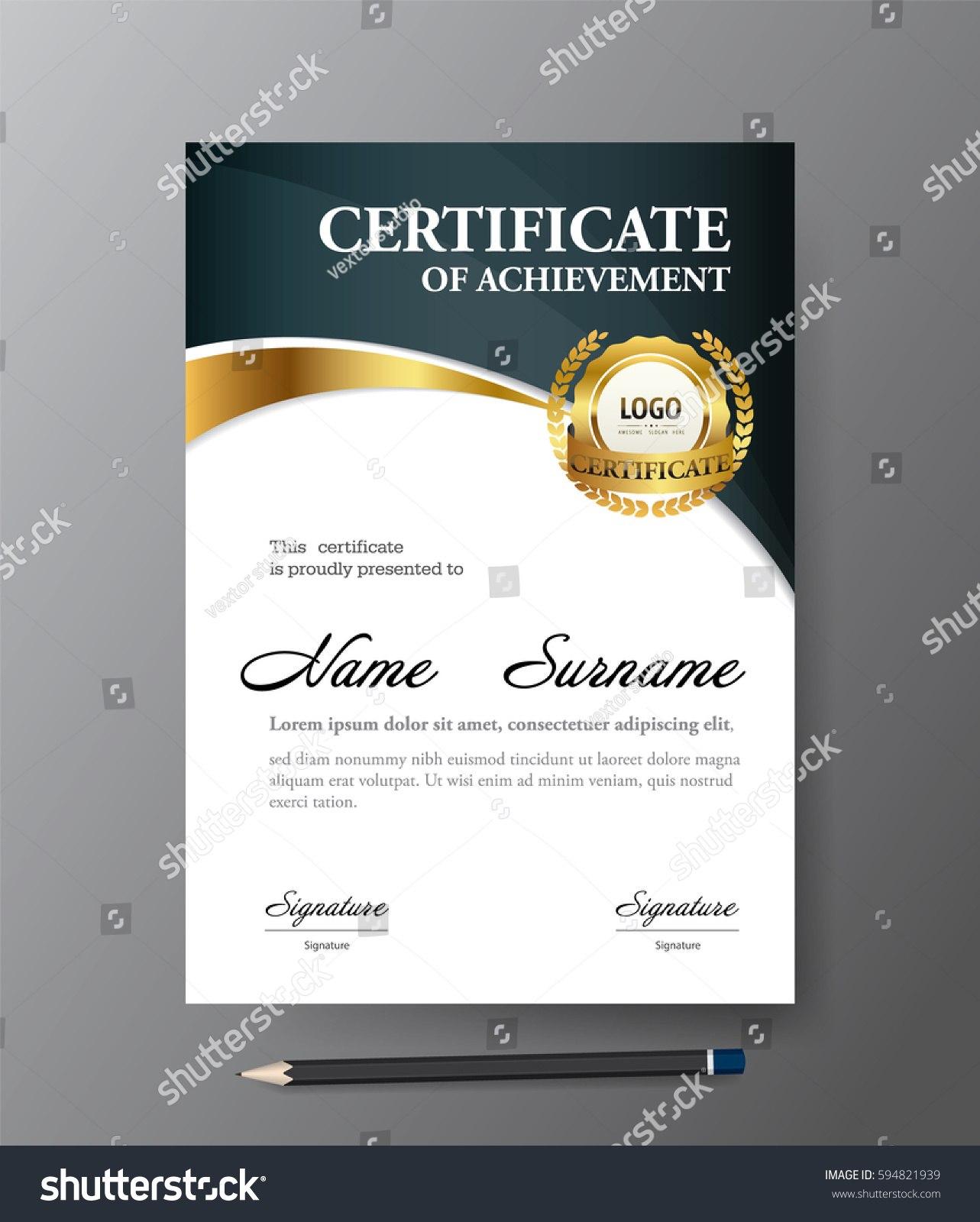 Certificate Templatea Size Diploma Vector Illustration Stock Vector Within Certificate Template Size