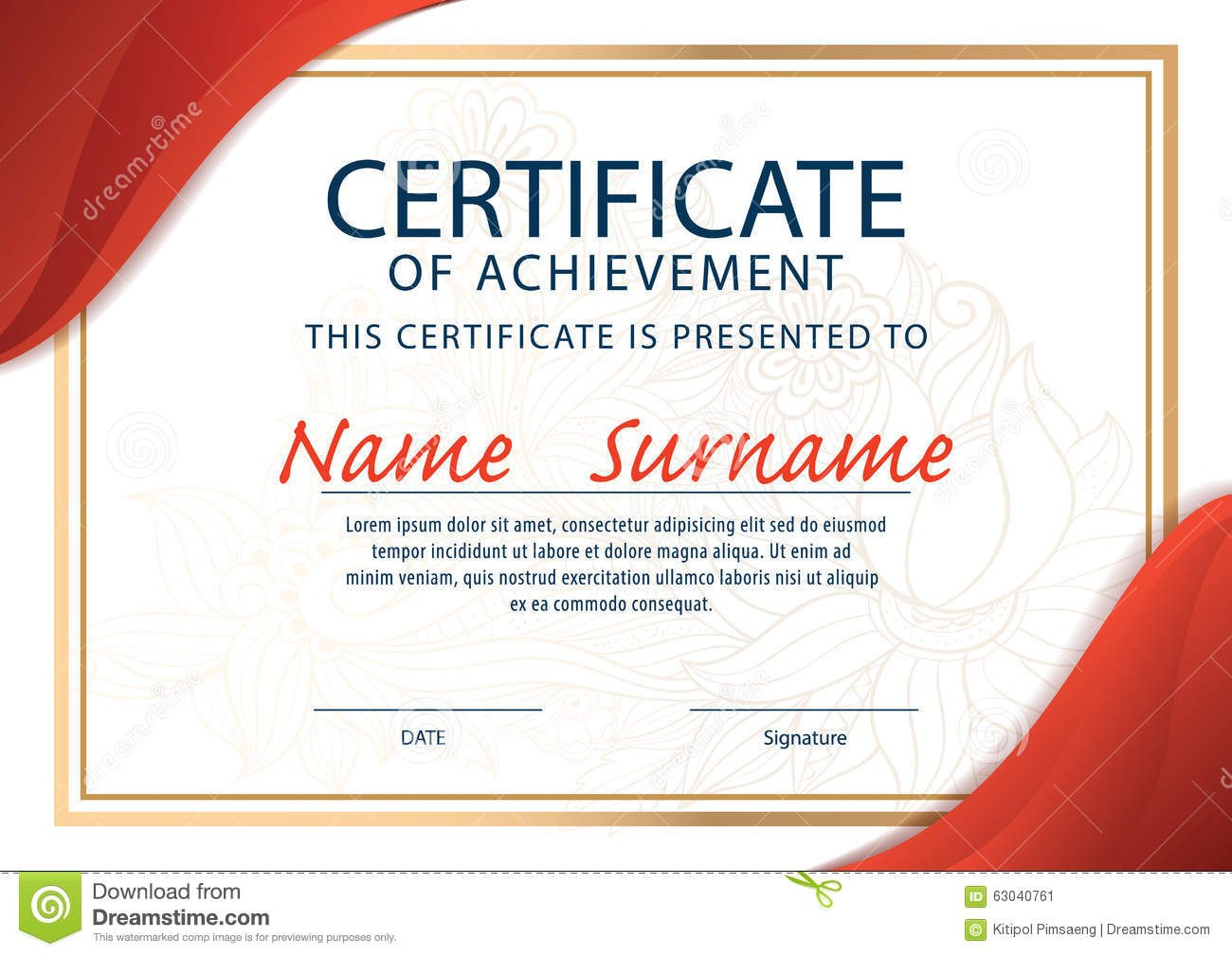 Certificate Templatediploma A Size Stock Vector  Illustration Of With Regard To Certificate Template Size