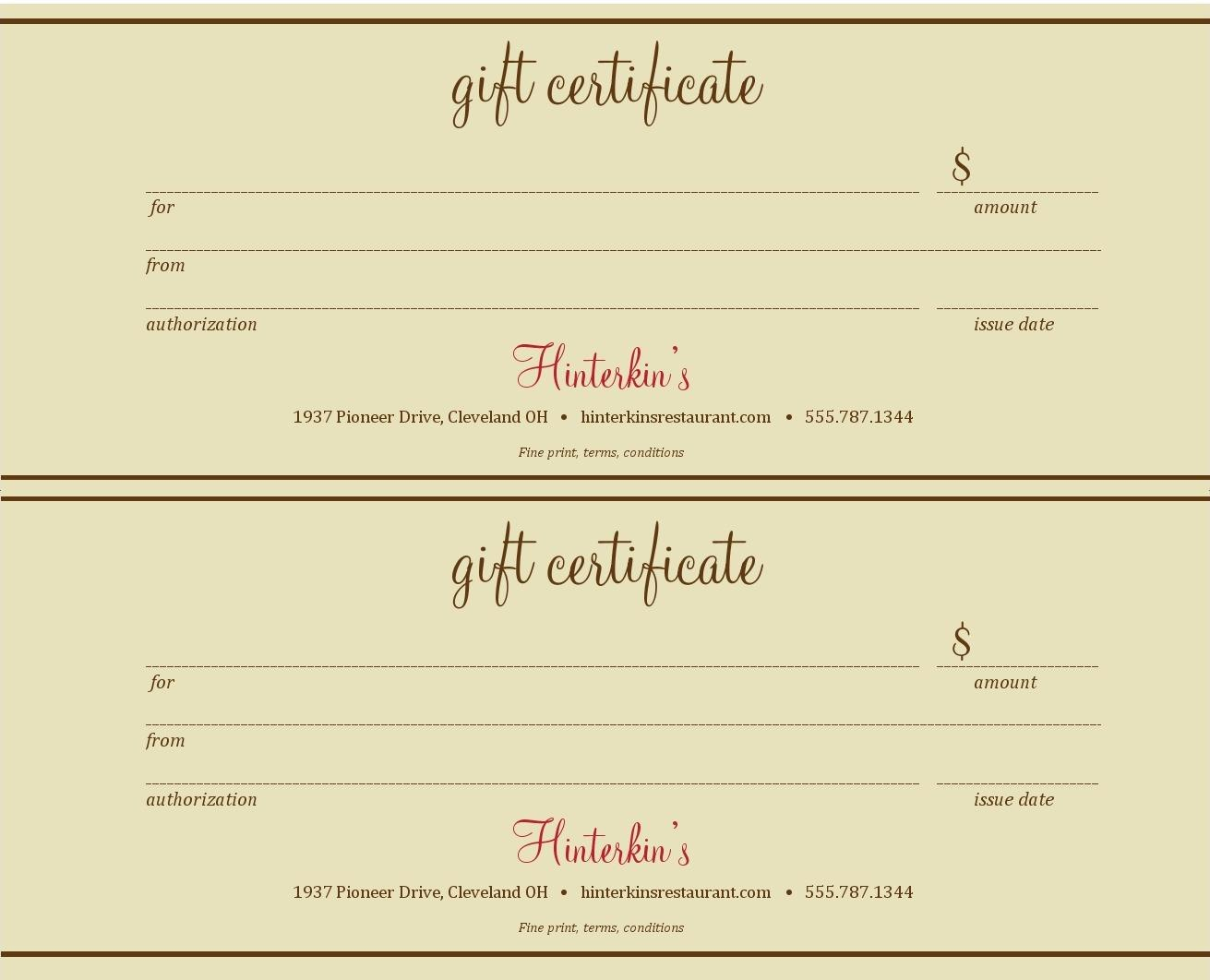 Certificate Templates Best Photos Of Gift Certificate Templates Throughout Restaurant Gift Certificate Template