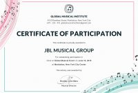 Certificate Templates Certificate Of Participation Format Of with regard to Choir Certificate Template