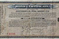 Certificate Templates Vintage Johnstown  Bond Certificate within Corporate Bond Certificate Template
