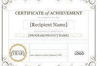 Certificateofachievementword throughout Word Template Certificate Of Achievement