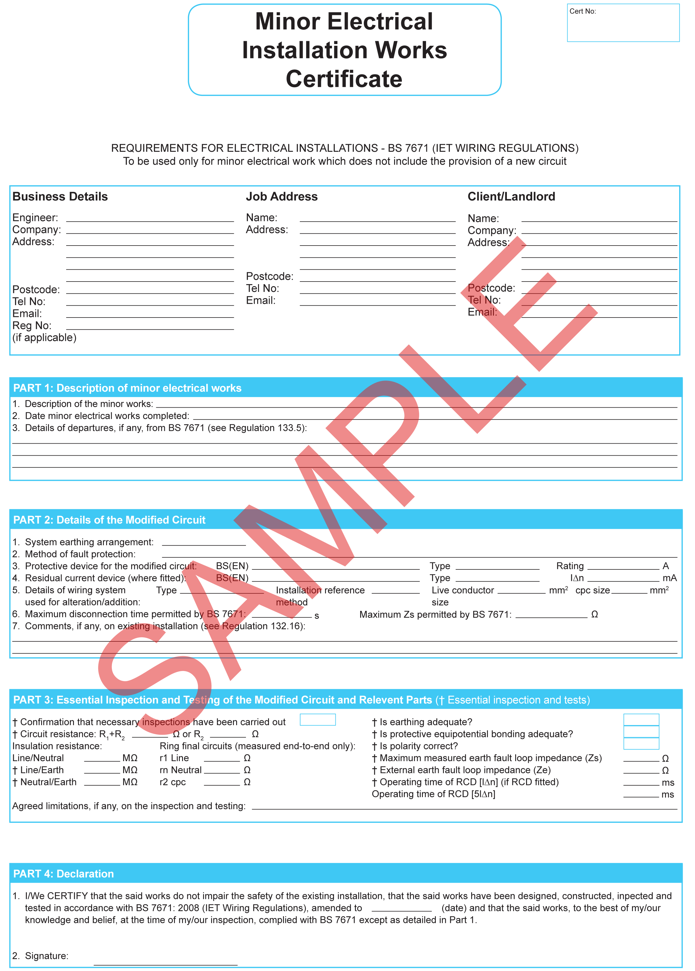 Certificates  Everycert For Minor Electrical Installation Works Certificate Template
