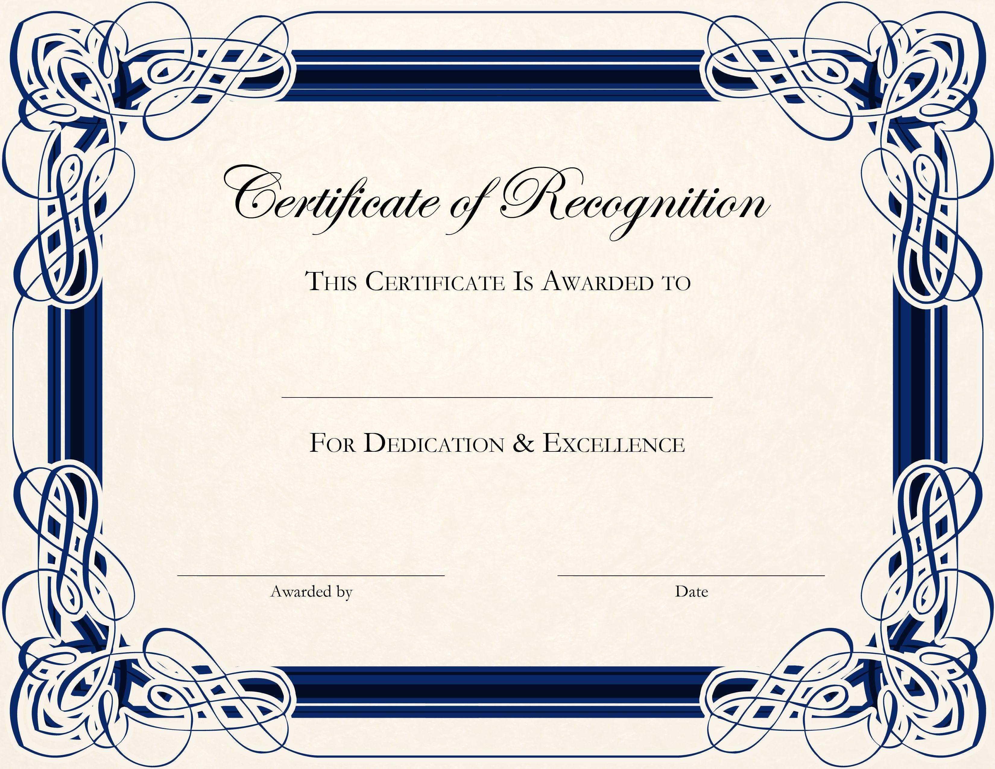 Certificatetemplatedesignsrecognitiondocs  Blankets In Certificate Of Recognition Word Template