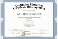 Ceu Certificate Of Completion Template Sample throughout Continuing Education Certificate Template