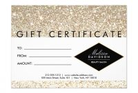 Champagne Gold Glitter Salon Gift Certificate  Zazzleca  Layout with Spa Day Gift Certificate Template
