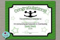 Cheerleading Cheer Award Certificate Dance Gymnastics Award  Etsy with Gymnastics Certificate Template