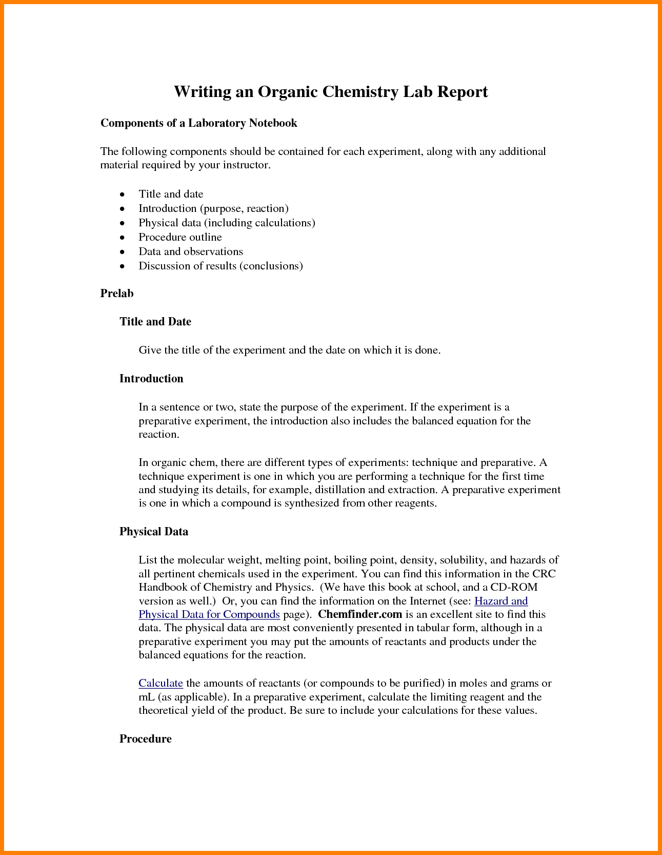 Chemistry Lab Report Template   Fabulousfloridakeys With Chemistry Lab Report Template