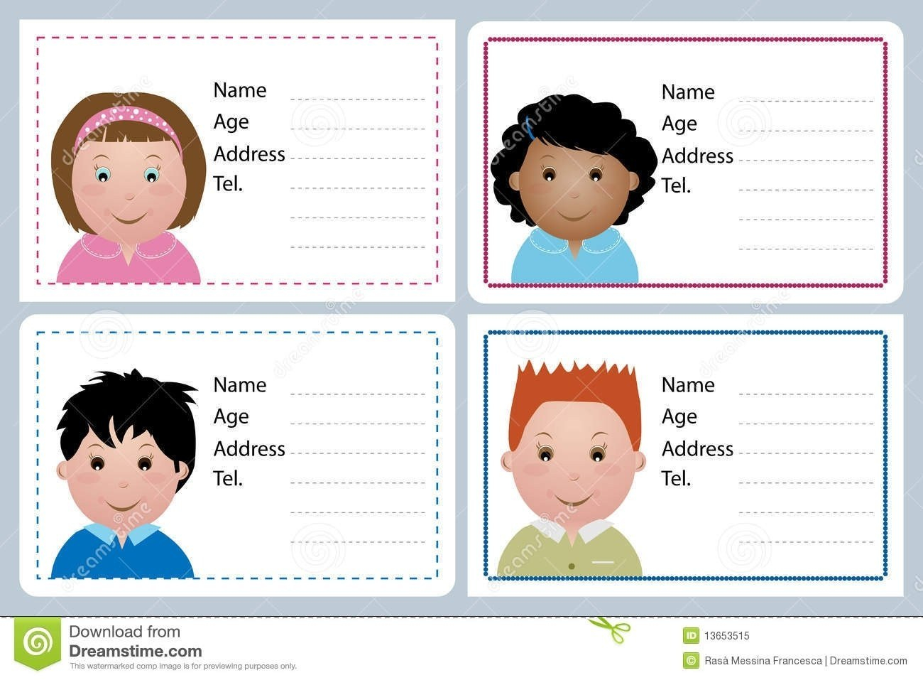 Child Id Card Template Free Children Name Royalty Stock Photo For Id Card Template For Kids