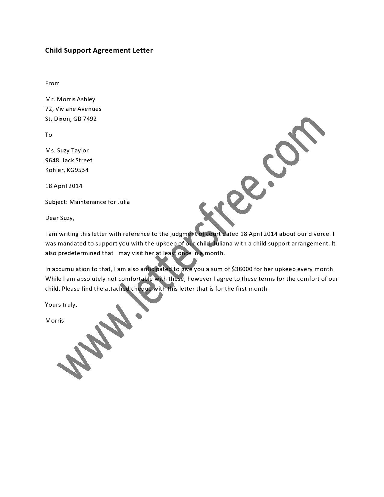 Child Support Agreement Letter  Sample Agreement Letters  Child With Mutual Child Support Agreement Template