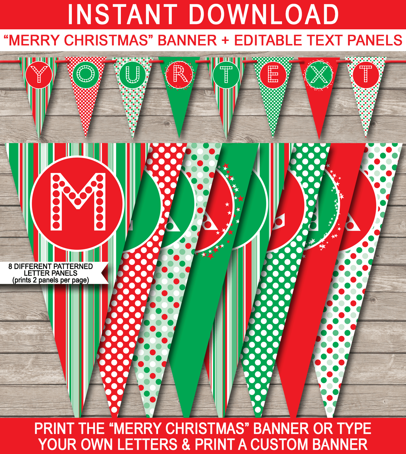 Christmas Banner Template  Merry Christmas Banner  Editable Bunting Regarding Merry Christmas Banner Template