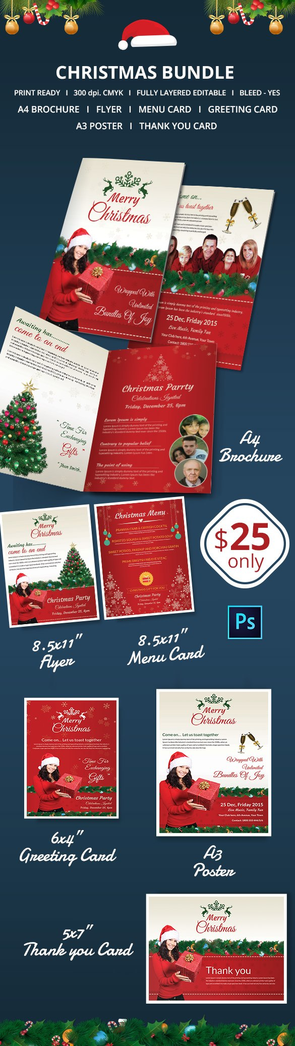 Christmas Brochures Templates  Psd Word Publisher Apple Pertaining To Christmas Brochure Templates Free