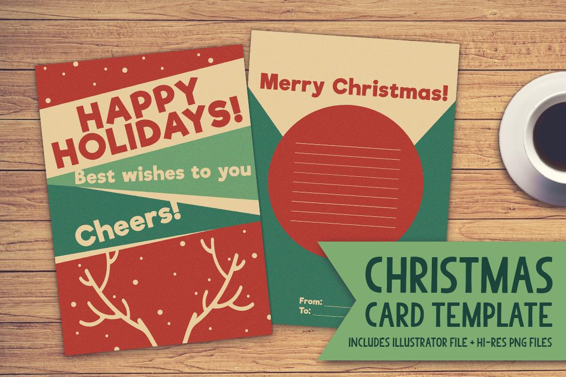 Christmas Card Template Graphicthe Stock Croc  Creative Fabrica In Adobe Illustrator Christmas Card Template