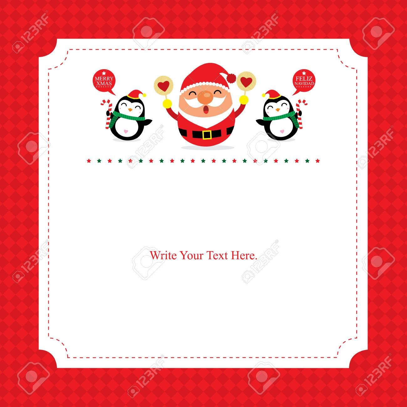 Christmas Card Template Santa Claus Royalty Free Cliparts Vectors Pertaining To Happy Holidays Card Template