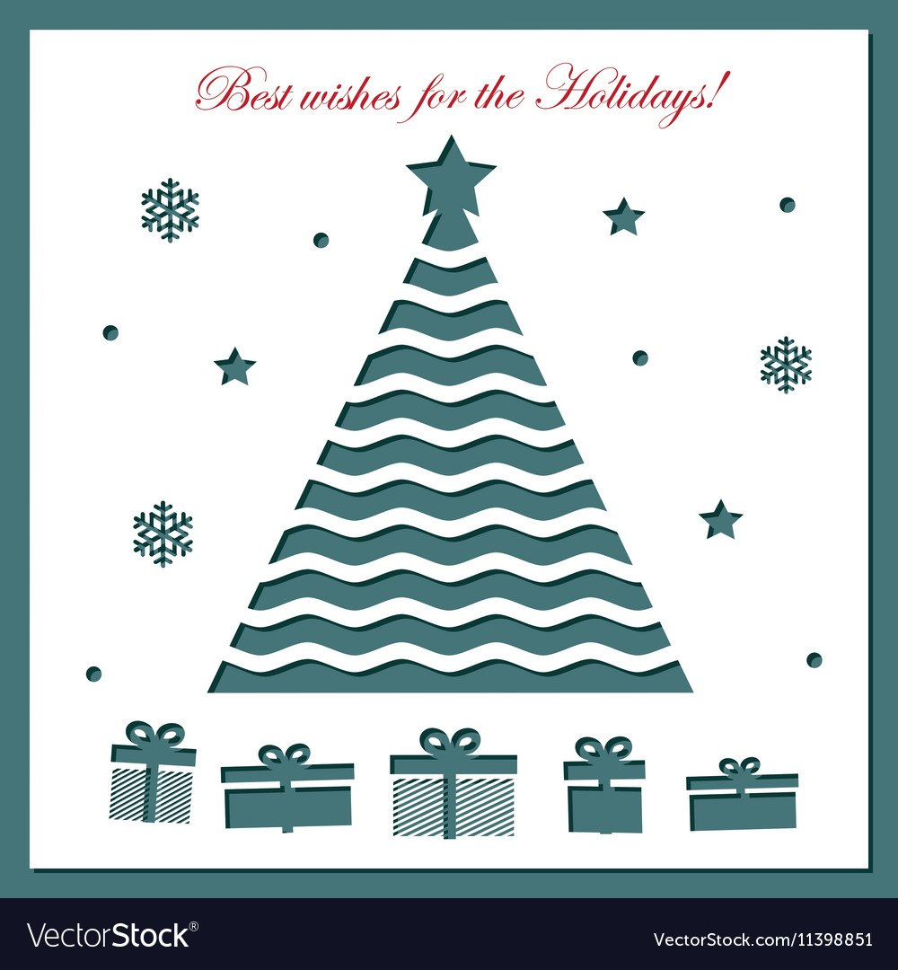 Christmas Card Template With Laser Cutting Vector Image With Adobe Illustrator Christmas Card Template