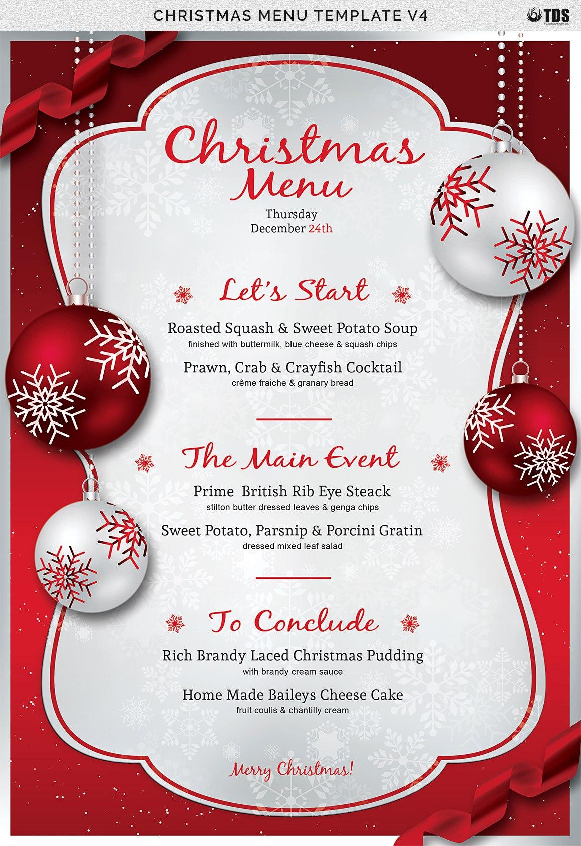 Christmas Menu Template V Inside Christmas Day Menu Template